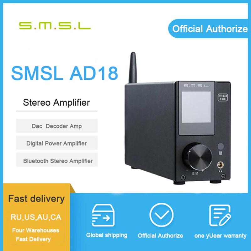 Amplificateur audio numérique SMSL AD18 FDA V3 - Bluetooth, 2x80 W (112,25€ avec le code SHOPNEW)