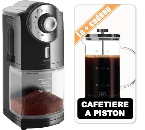 Moulin à café Melitta Molino Noir, Inox + Cafetière à piston (8 tasses)