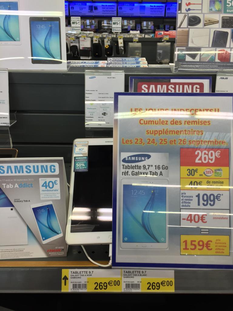 """Tablette 9.7"""" Samsung Galaxy Tab A (30€ sur la carte et 40€ ODR)"""