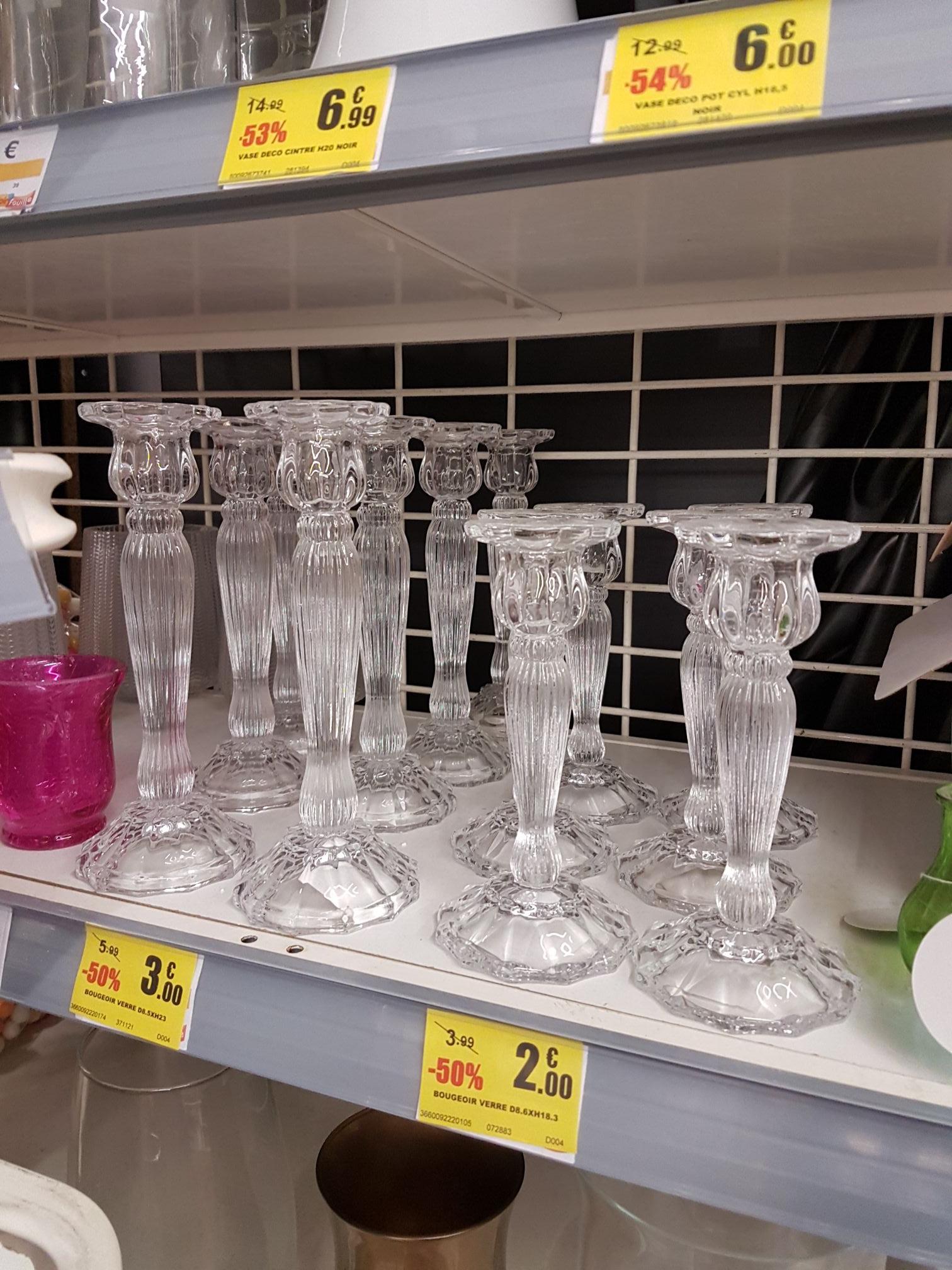 Sélection de bougeoirs en verre en promotion - Ex: Bougeoir en verre 18,5 cm (Épinal - 88)