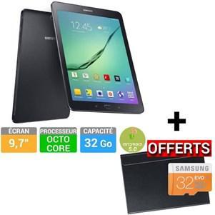 Tablette  9,7'' Samsung Galaxy Tab S2 - 32 Go Noire SMT810NZKE + Un Book cover et une carte SD 32 Go offerts