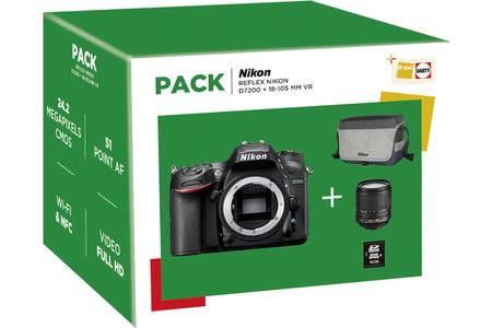 Appareil Photo Reflex Nikon D7200 + Objectif AF-S DX Nikkor 18-105MM ED VR + Fourre-Tout + Carte mémoire 16GO + 90€ en carte cadeau