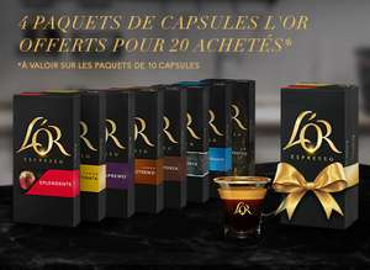 4 paquets de capsules L'Or Espresso offerts pour 20 achetées