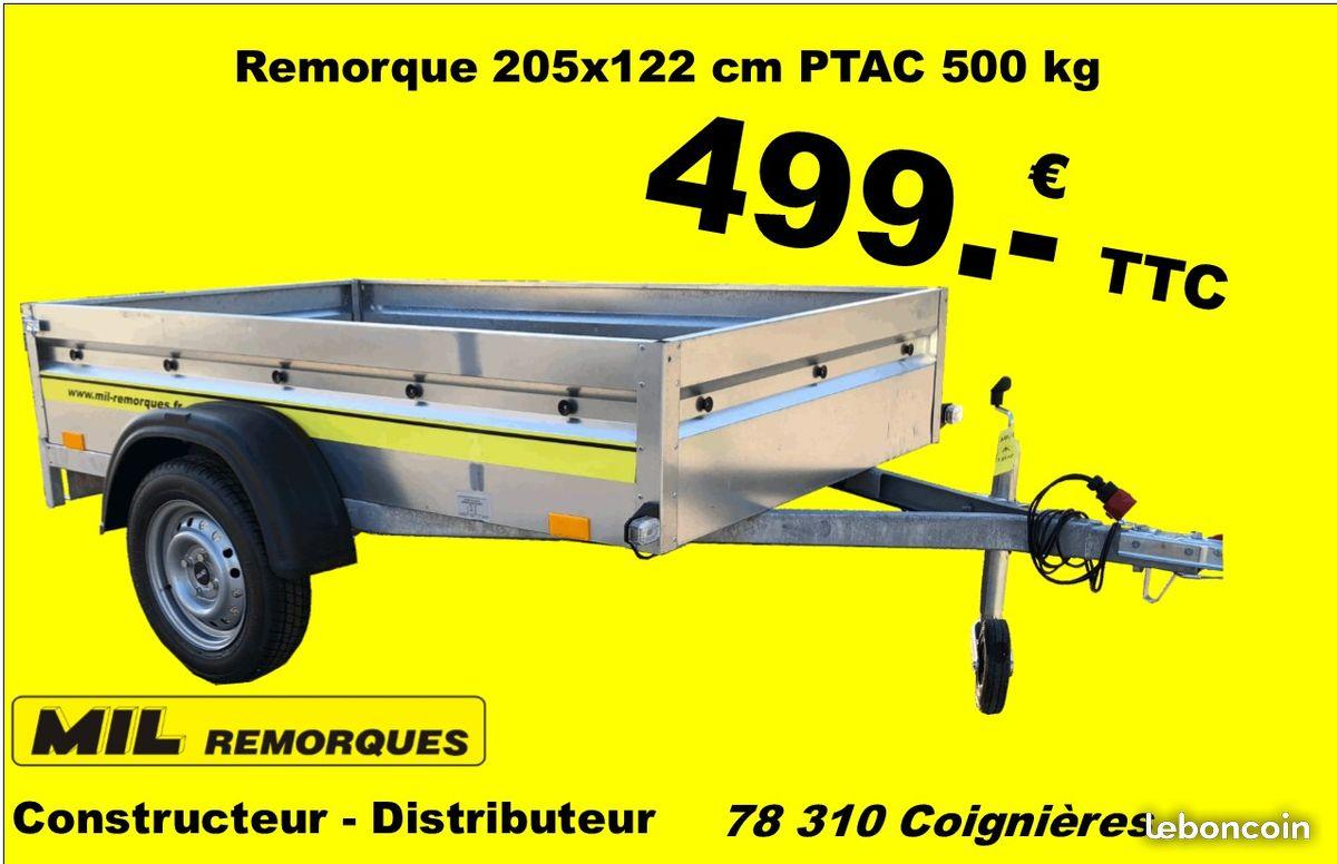 Sélection de remorques en promotion en magasin - Ex : Remorque 2,05 x 1,22 m PTAC 500 kg (Mil Remorques)
