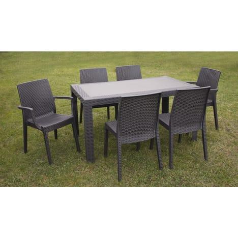 Salon de jardin 6 personnes Urano - Table (140 x 80 x 72 cm) + 6 ...