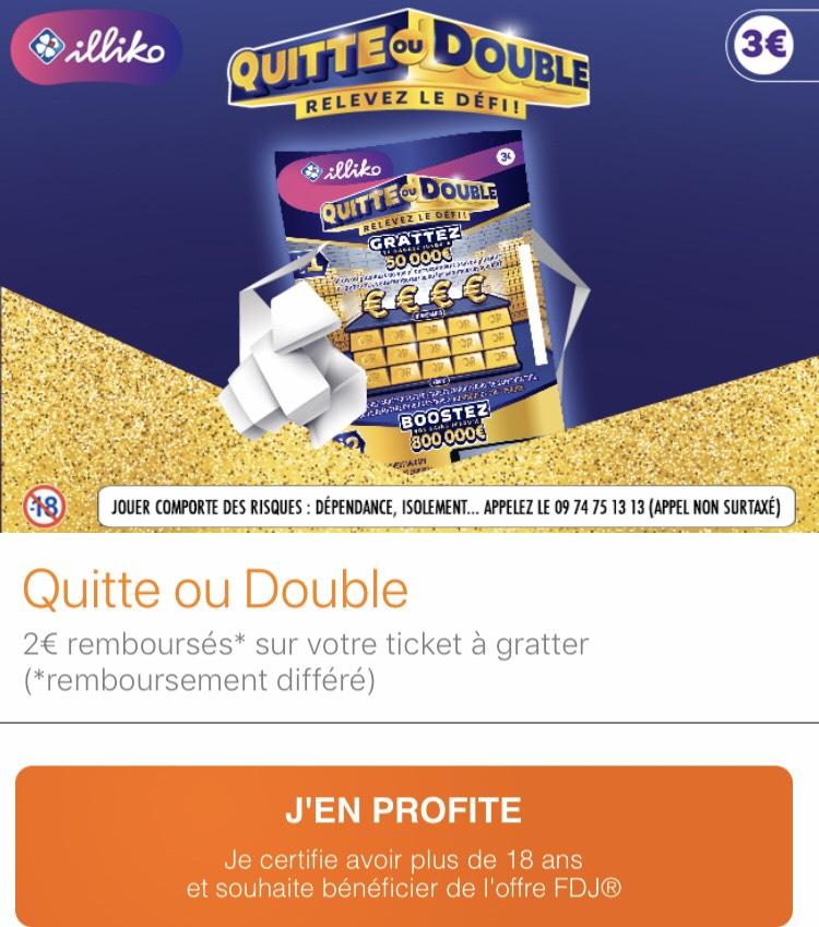 Ticket Illiko Quitte ou double (via remboursement de 2€) - Fidme.com