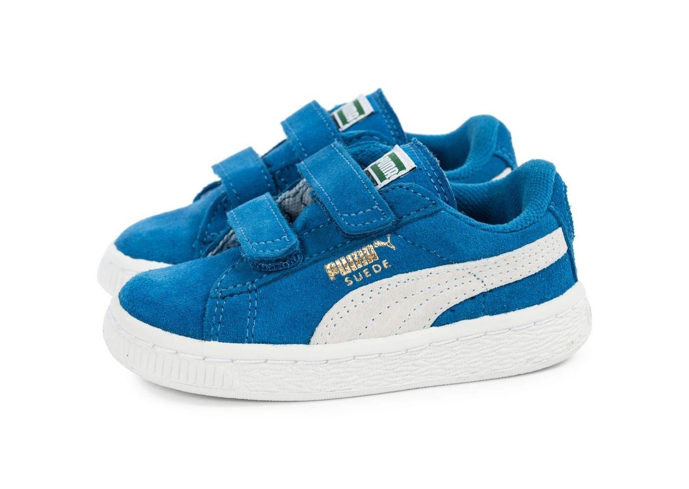 Baskets Puma Suede 2 Straps Bébé - Bleue (Tailles 21 à 27)