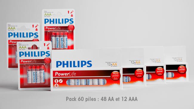 Lot de 60 piles Powerlife Philips (4 packs AA + 3 packs AAA)