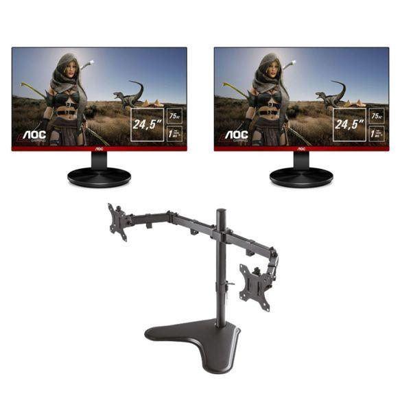 "Lot de 2 écrans PC 24.5"" AOC G2590VXQ - Full HD,  75Hz, Freesync, 1 ms + Support Double Ecran Newstar"