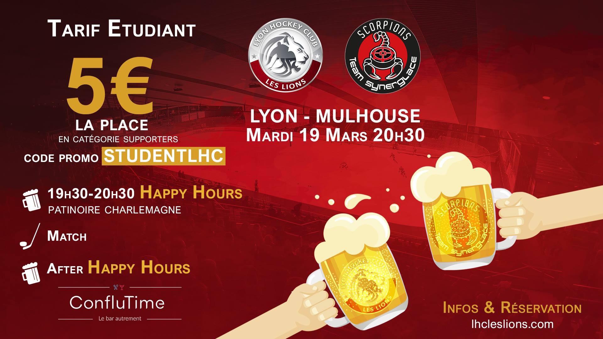 [Étudiants] Billet pour le match de hockey sur glace Lyon Hockey Club Les Lions / Mulhouse Scorpions - le 19 mars 2019 (20h30), à Lyon (69)