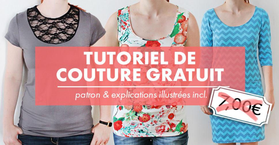 """PDF gratuit T-shirt, débardeur et robe """"Valery"""" tailles XS à 4XL - Patron et explications (Dématérialisé)"""