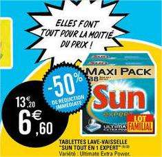 2x38 tablettes lave vaisselle Sun Ultimate Extra Power