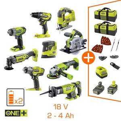 Monster Pack Ryobi V2.0 : 9 machines professionnelles - 2 bat Li-Ion 4 & 2Ah - chargeur + 2 sacs de transport