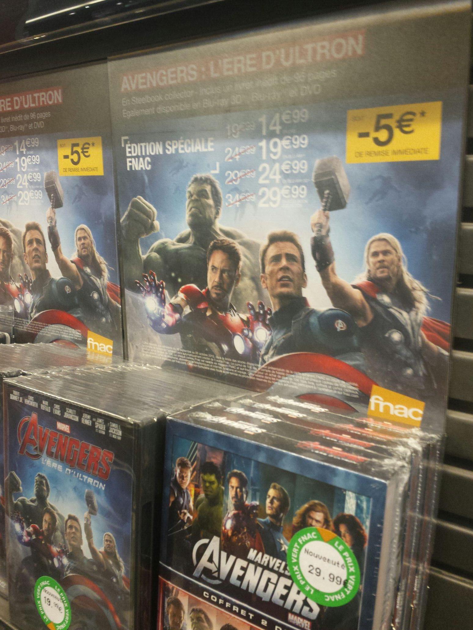 [Adhérents] Avengers : L'ère d'Ultron Steelbook Combo Blu-ray 3D + 2D Edition Spéciale Fnac