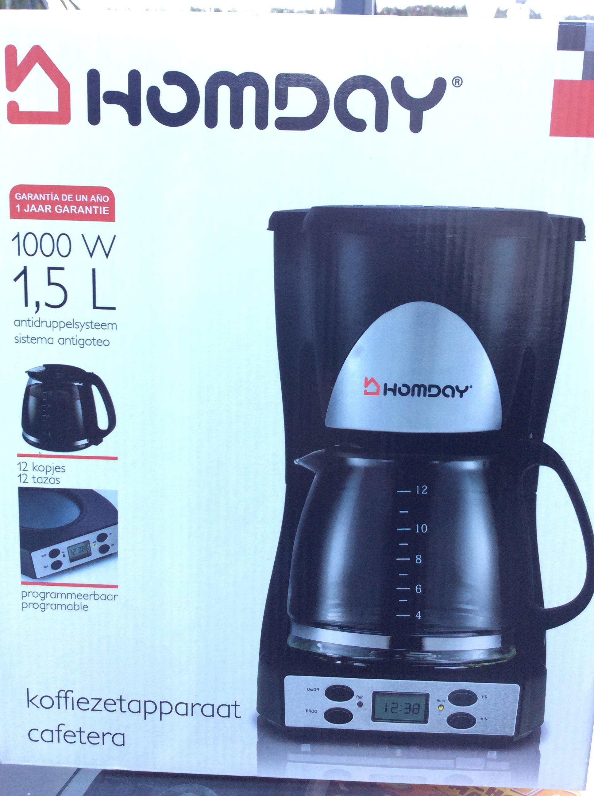 Cafetière électrique programmable Homday 1,5 L - Noir
