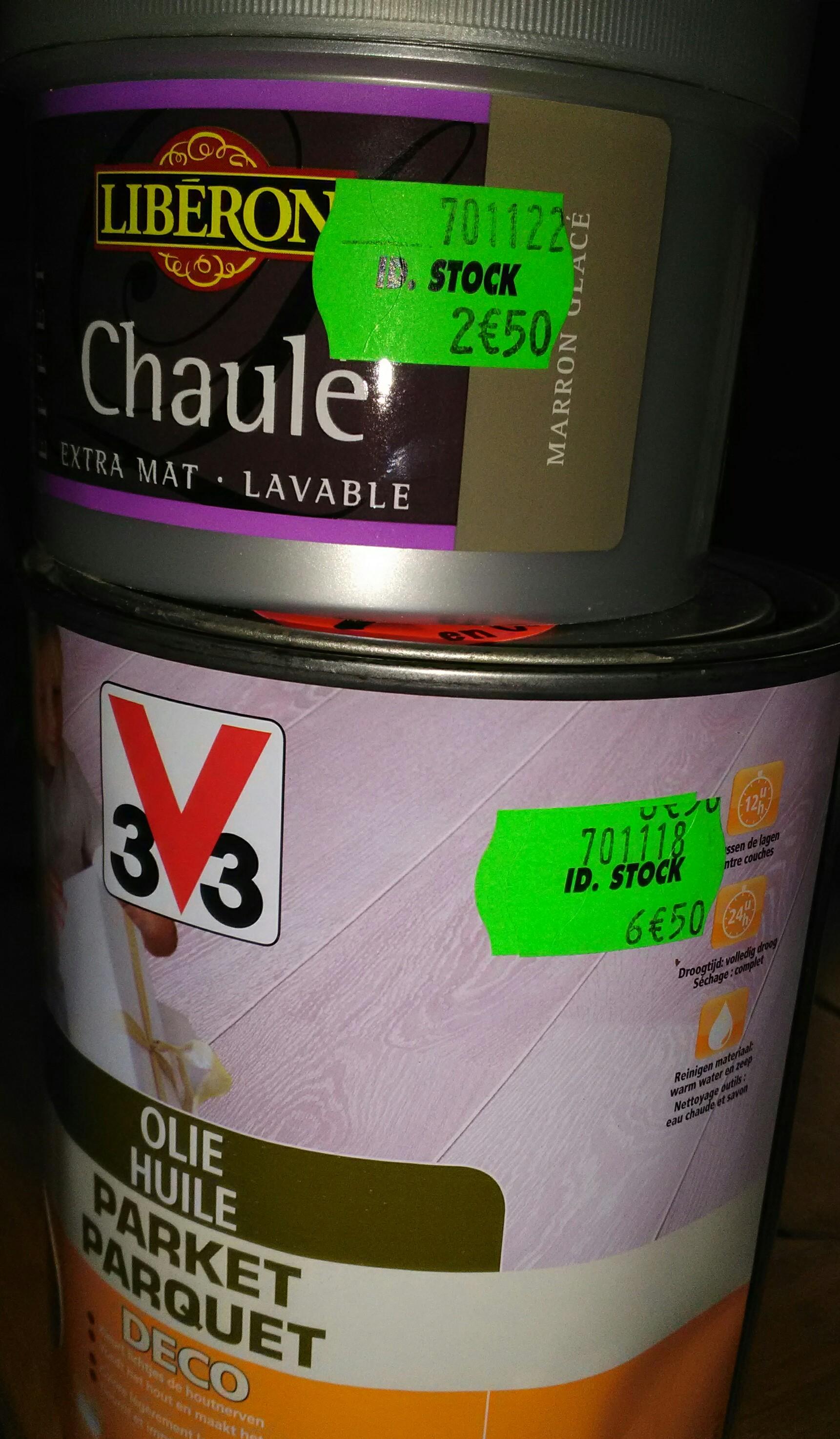 Sélection d'Huiles parquet V33 en promotion - Ex : Bidon d'huile parquet 3v3 Déco, IdStock Saint catherine les arras (62)