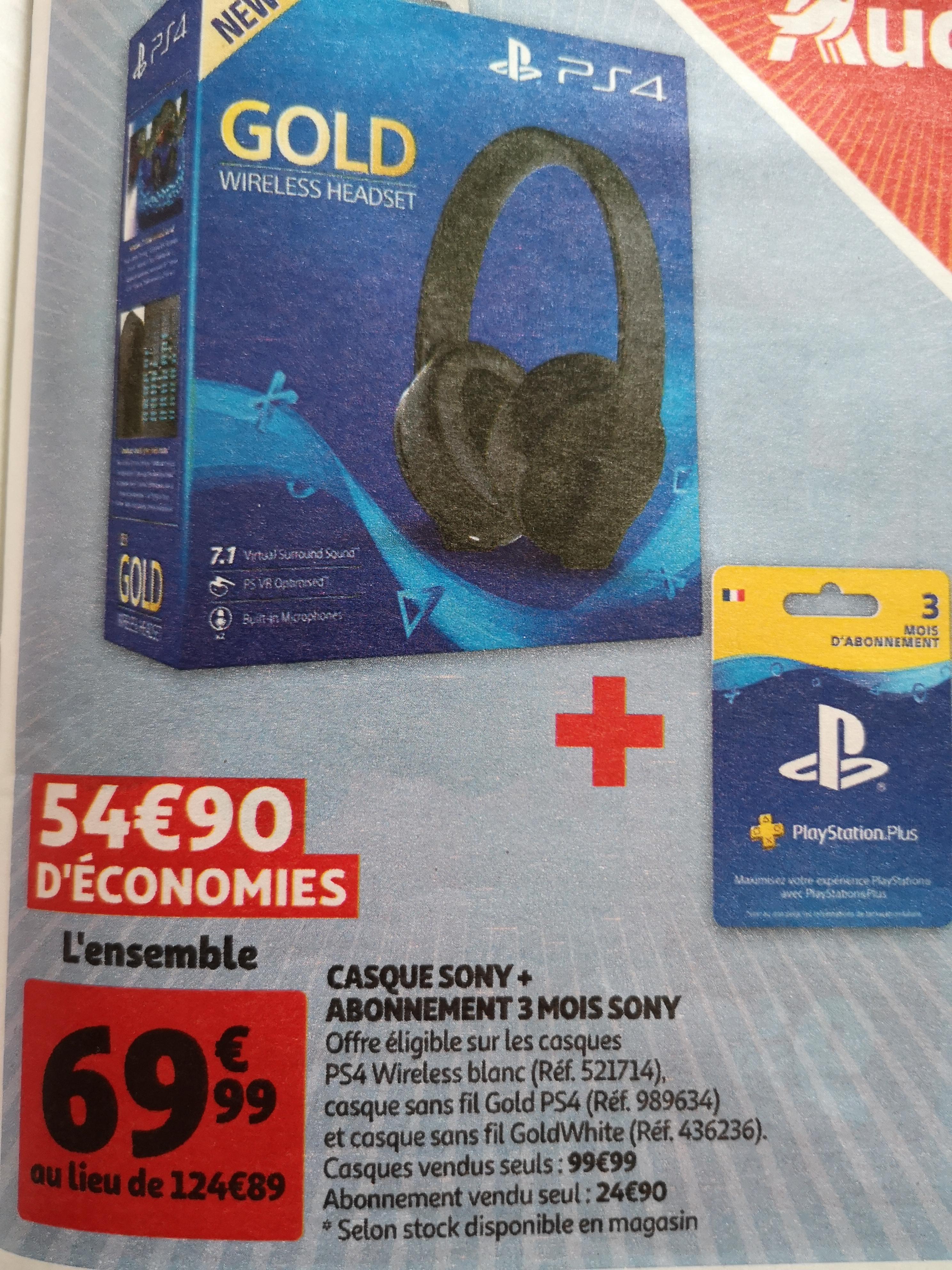 Casque bluetooth sans-fil Sony Gold pour PS4 + Abonnement PS+ - 3 mois