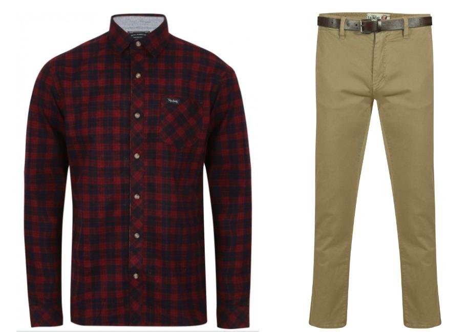 1 Chemise + 1 Pantalon chino (avec ceinture) - Coloris et tailles au choix