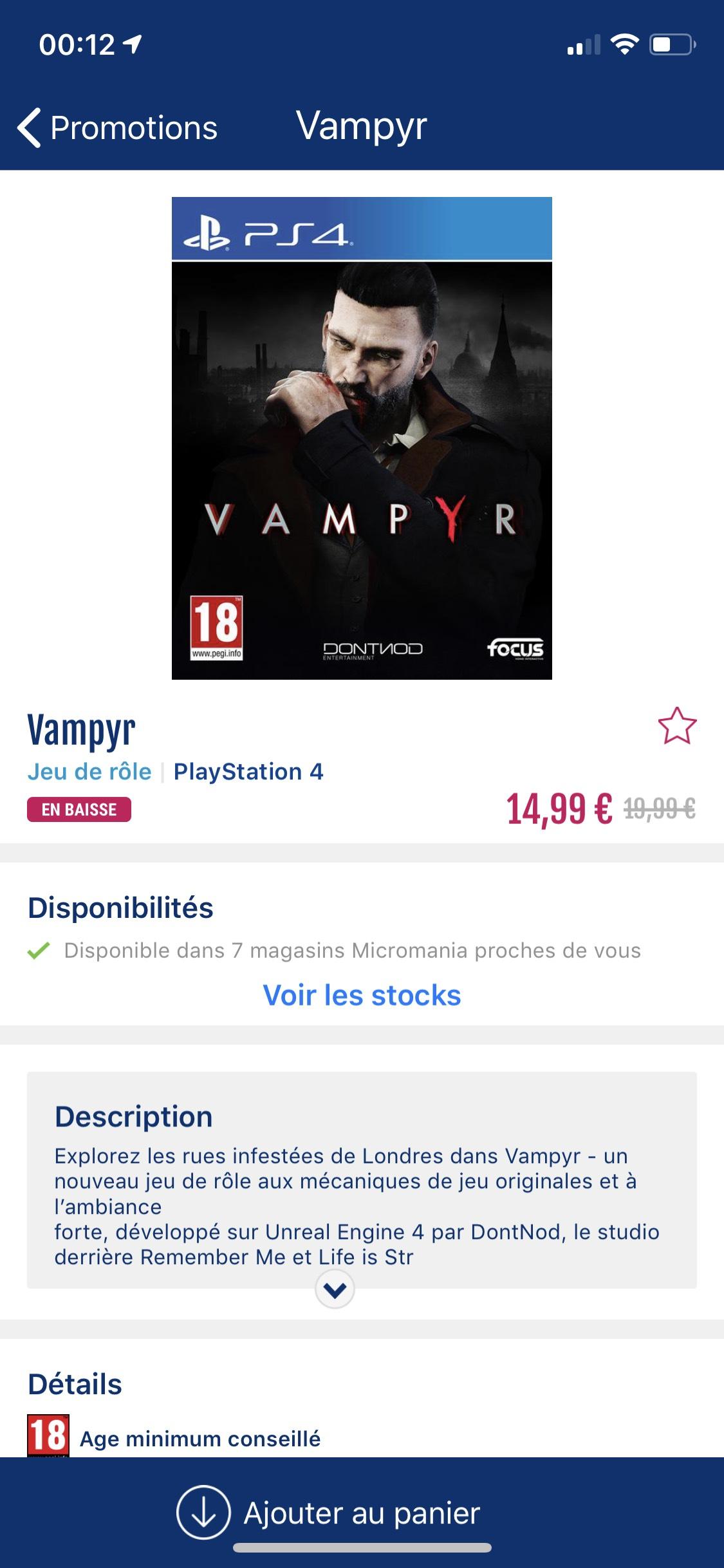 Jeu Vampyr sur PS4(11.99€) ou Xbox One (14.99€) (Dans une sélection de magasins)