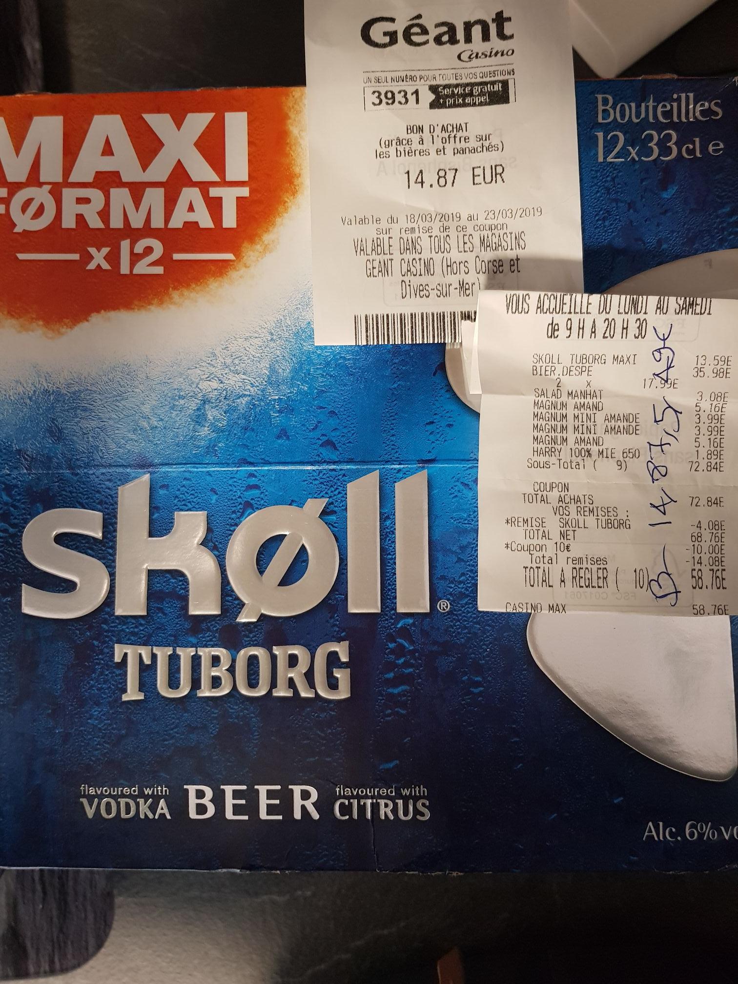 [De 11h à 13h et après 17h] Pack de 12 Bières Skoll Tuborg (Via 30% en bon d'achat) - 12x 33cl - Boissy-Saint-Léger (94)