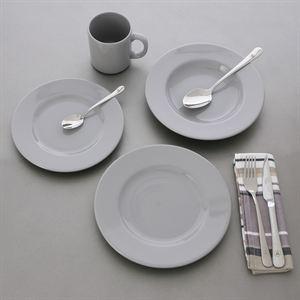 Service MYK Faïence GRIS 16 pièces (4 + 4 + 4 assiettes + 4 tasses)