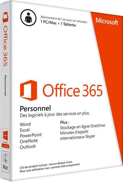 Licence Microsoft Office 365 Personnel - 1 Appareil PC ou MAC - 1 an