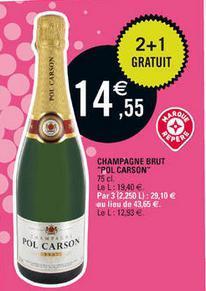 3 bouteilles de champagne brut Pol carson