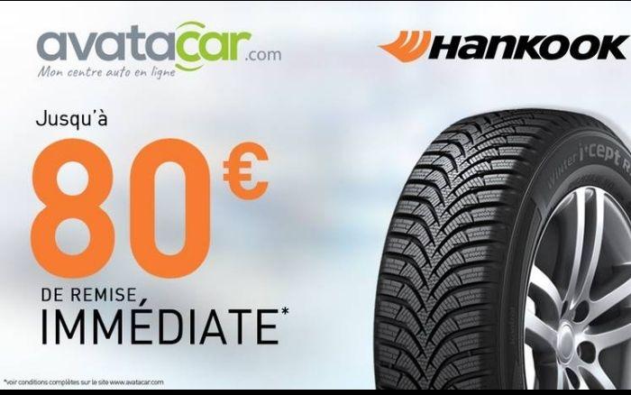 Jusqu'à 20€ de remise pour l'achat de pneu Hancook 15' / 40€ pour 16' à 18' / 80€ pour 19'  et plus.