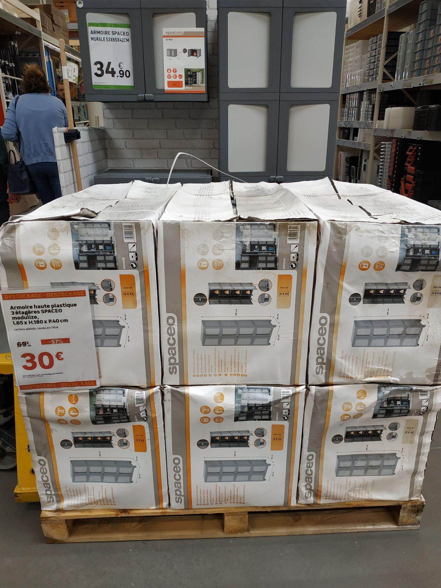 Armoire Haute Plastique 3 étagères Spaceo Modulize