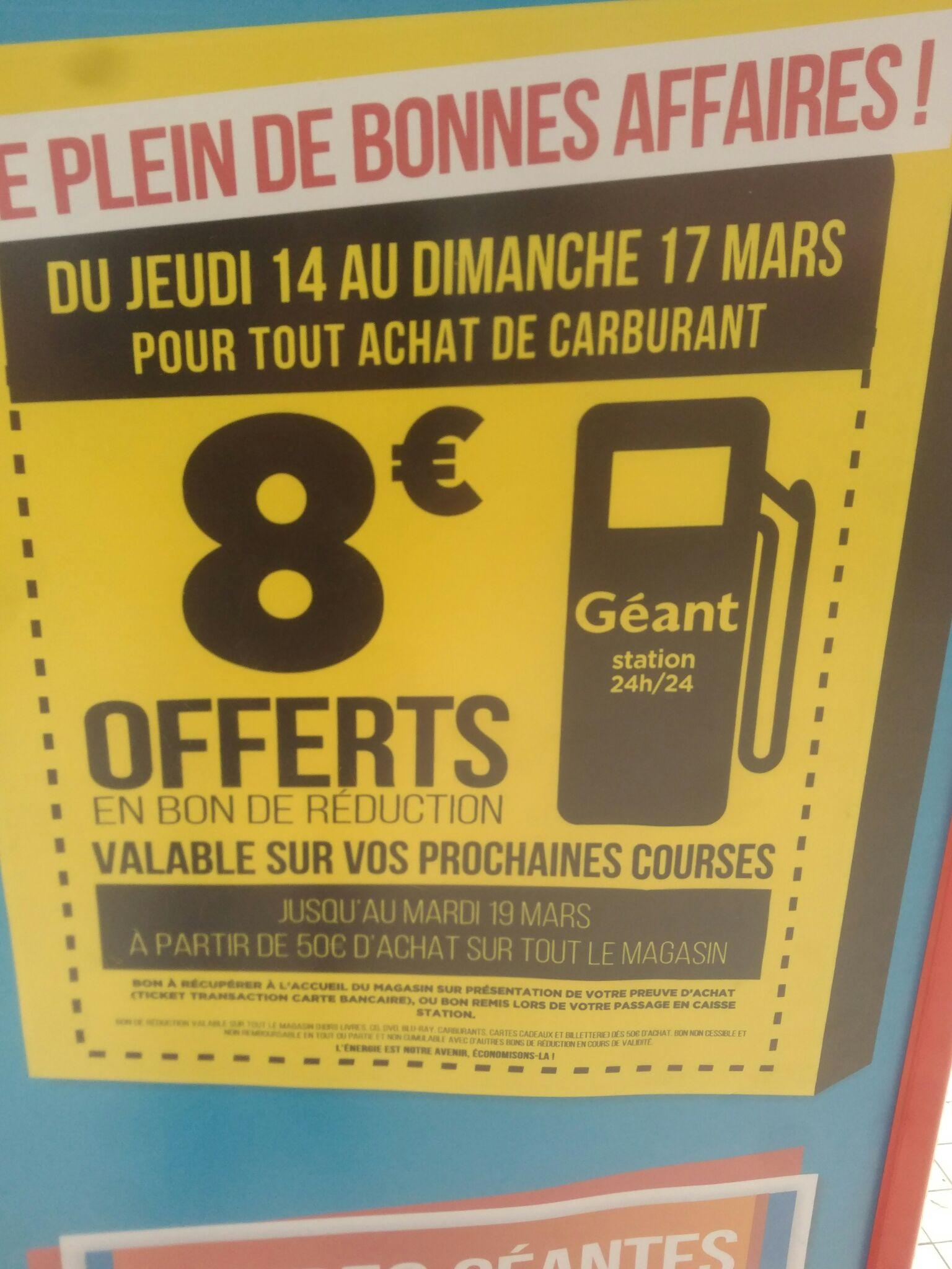 8€  Remise immediate sur vos courses (valable jusqu'au 19/03/19) pour tout achat de carburant (Mandelieu-la-Napoule 06)