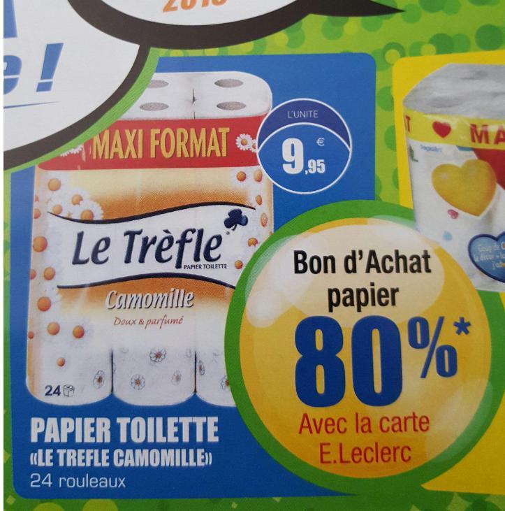 """Lot de 24 rouleau de Papier toilette """"Le trèfle camomille""""  (7.96€ en bon d'achat)"""