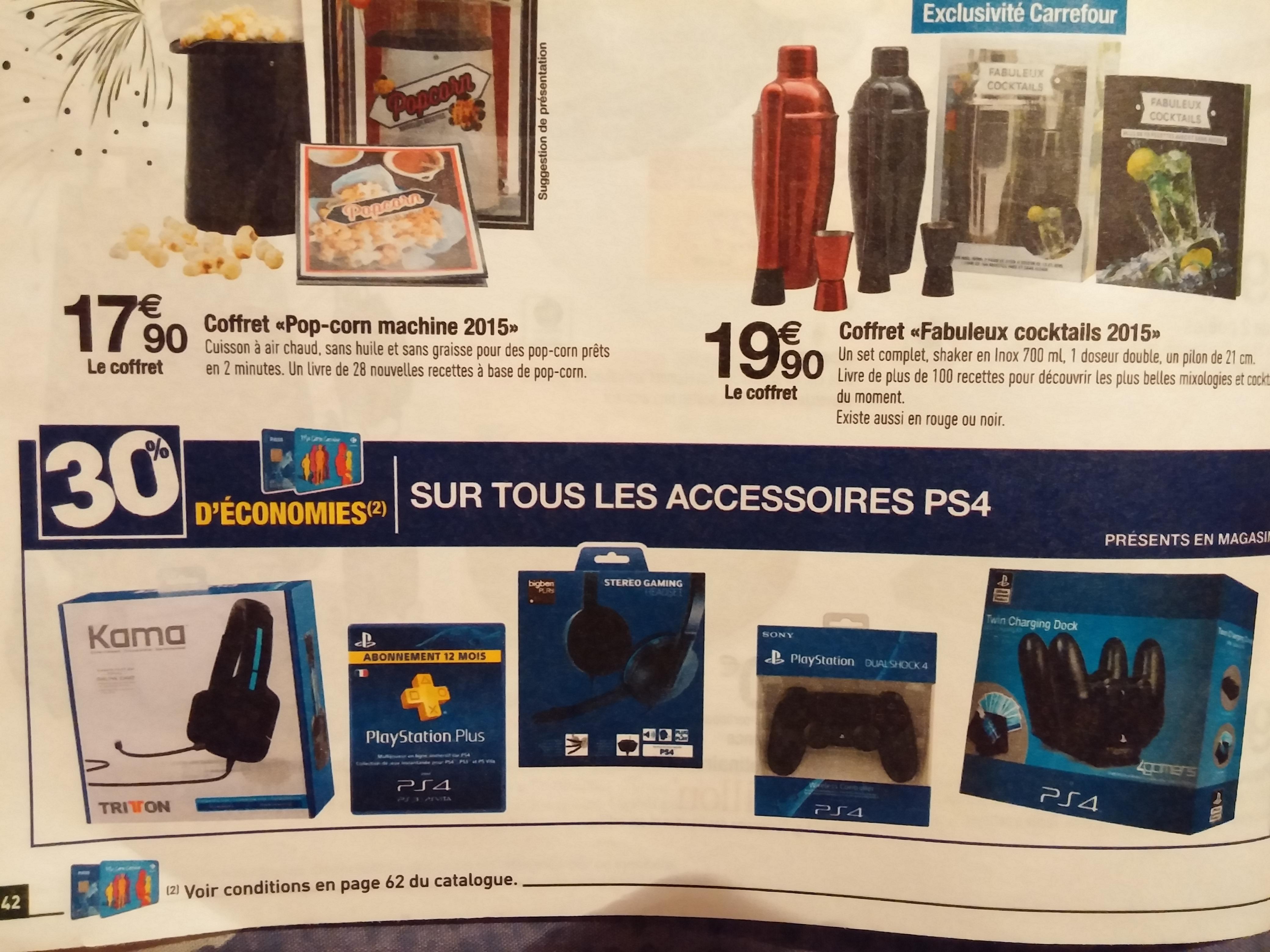 30% crédités sur la carte fidélité sur tous les accessoires PS4 - Ex: Playstation Plus 12 mois