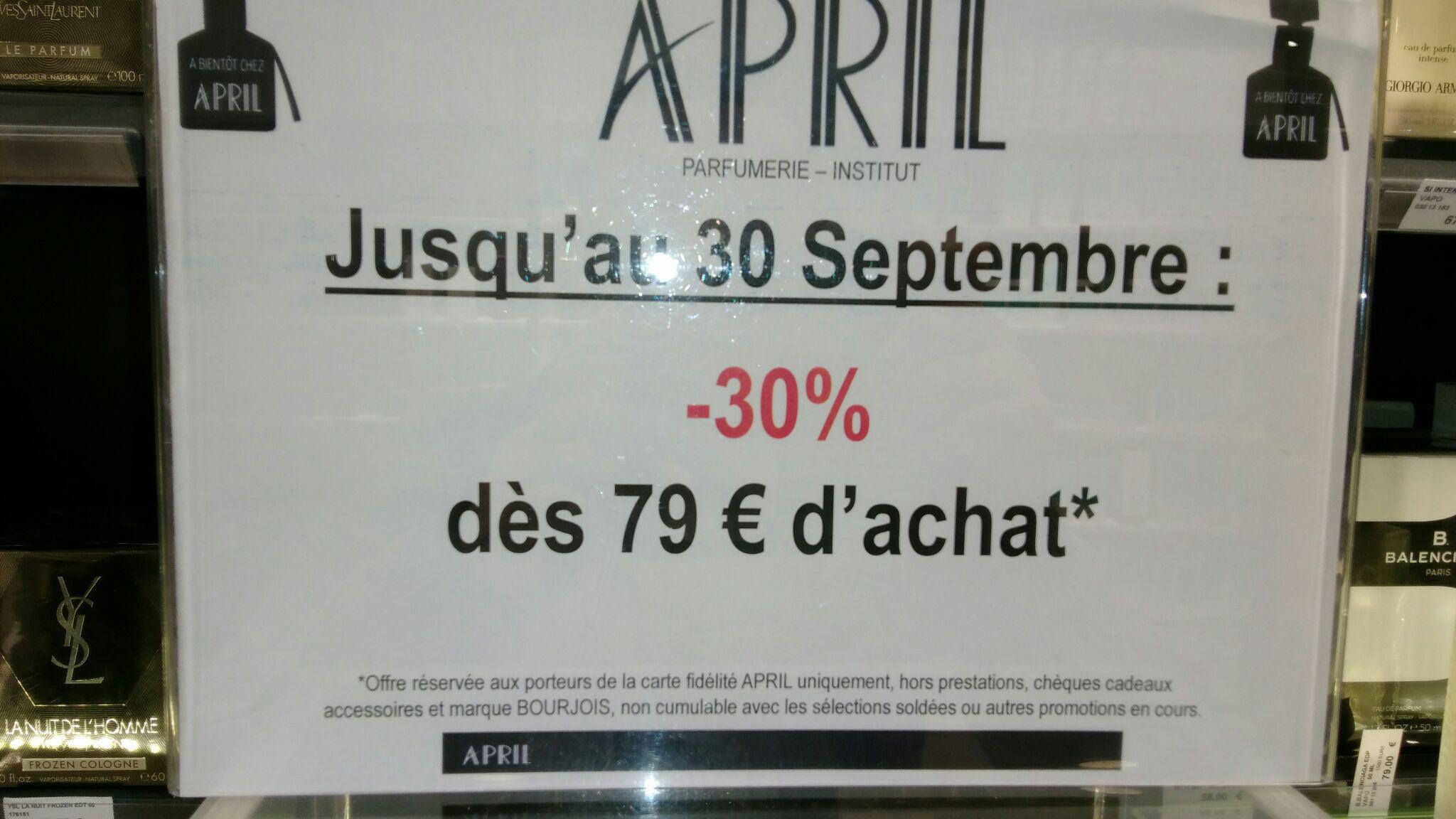 [Carte fidélité] 30% de réduction à partir de 79€ d'achat
