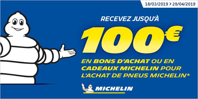 Jusqu'à 100€ en bons d'achats offert pour l'achat de pneu Michelin