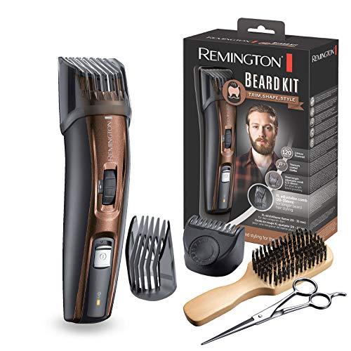 Coffret Rasage Remington -Tondeuse Barbe MB4045 + Accessoires - Lames Auto-Affûtées Titanium, Sabots Ajustables, Batterie Lithium