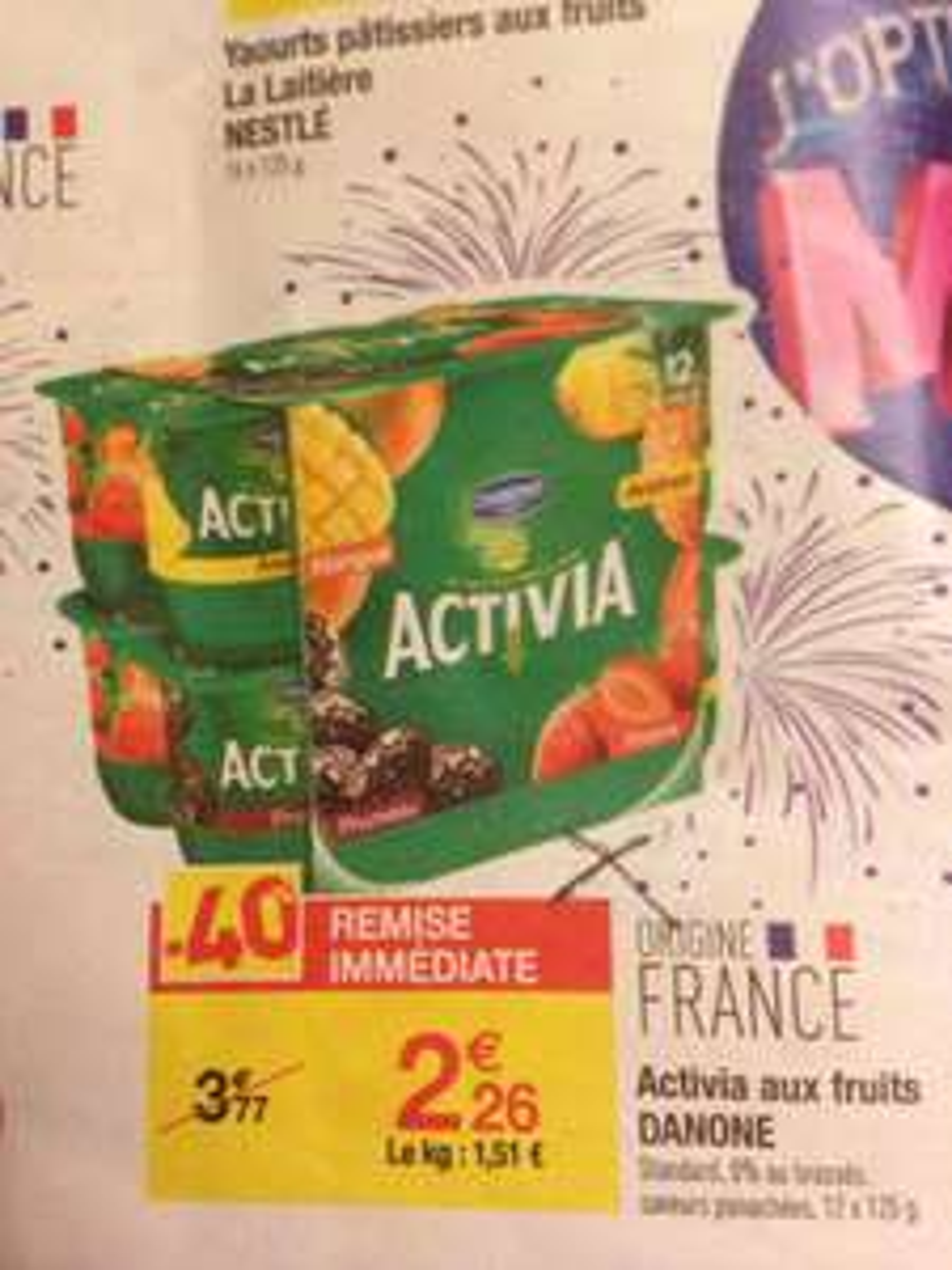 Pack Danone Activia au fruits