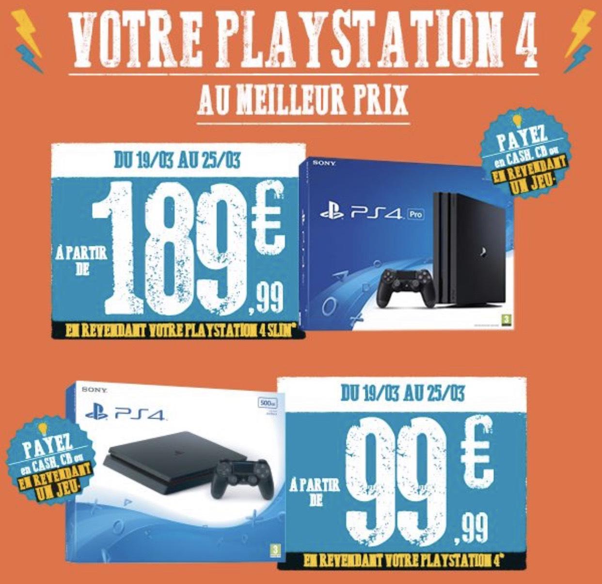 Console Sony PS4 Slim à partir de 89.99€ ou PS4 Pro à partir de 189,99€ (sous condition de reprise)