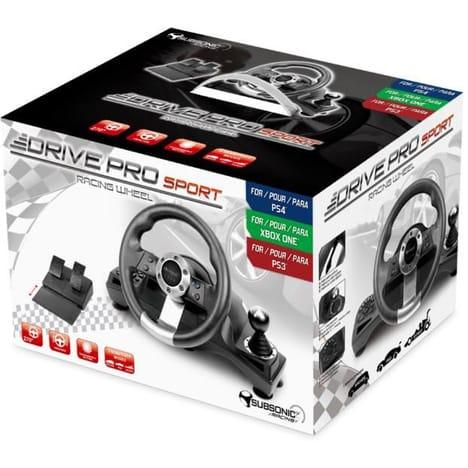 Volant de course Subsonic Drive Pro Sport avec pédalier pour PS4, PS3, Xbox One ou PC