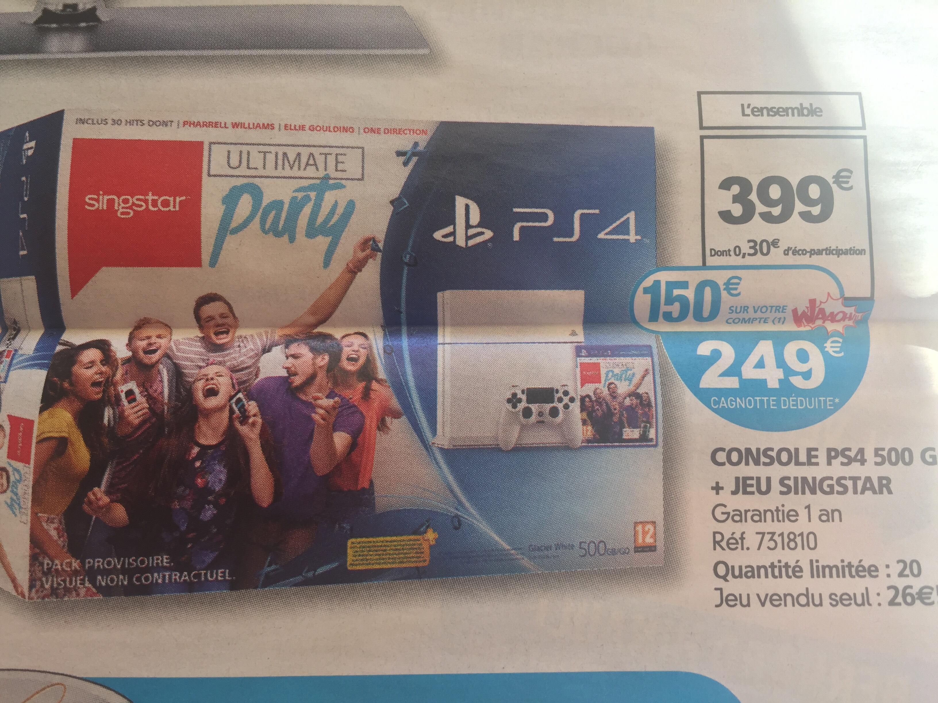 Pack Console Sony PS4 500 Go blanche + Singstar (150€ sur la carte Waaoh)