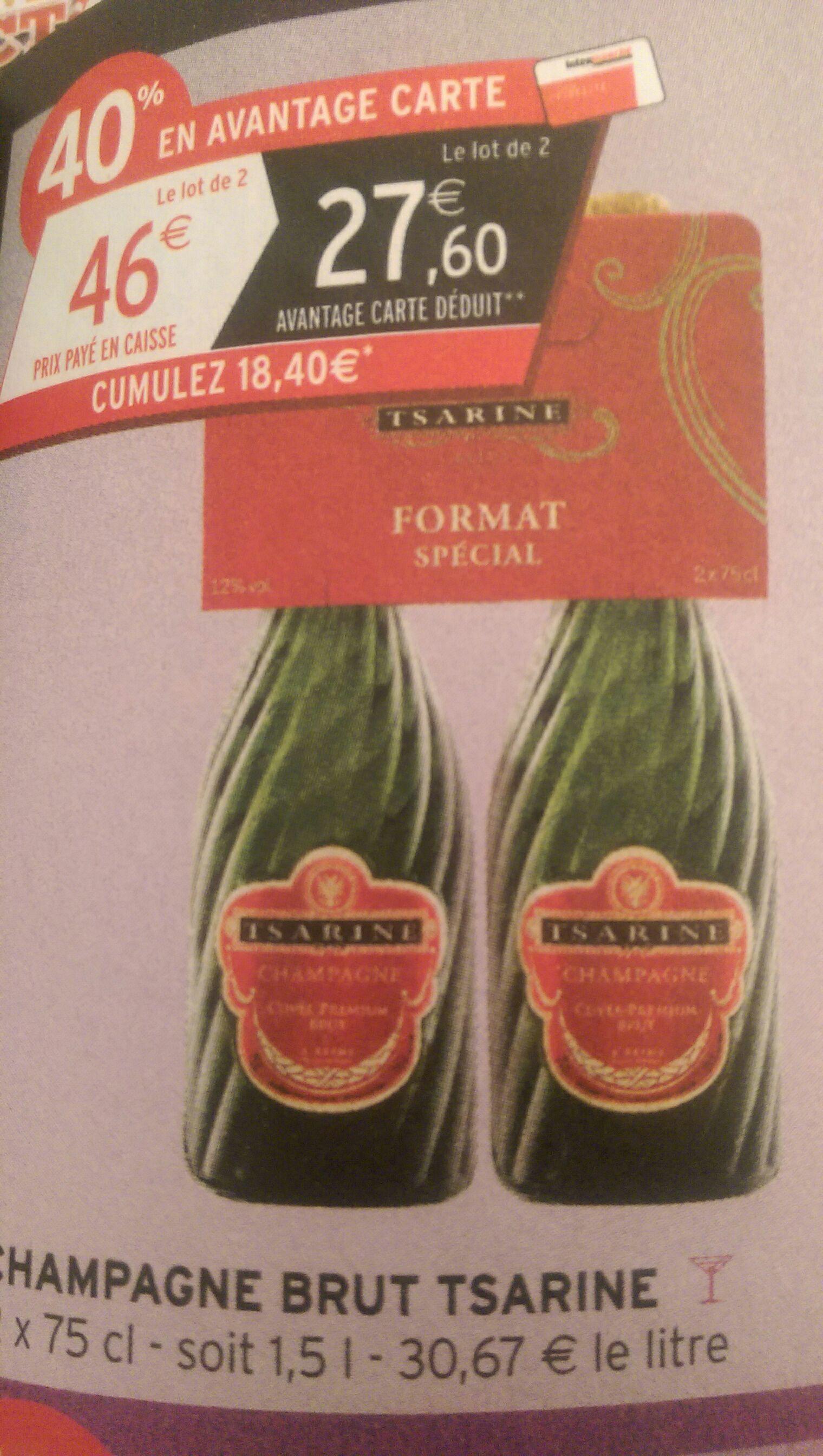 Lot de 2 Bouteilles de champagne Tsarine Brut (via 18.40€ sur la carte fidélité)