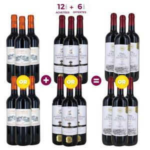 Lot de 18 bouteilles de vin rouge Bordeaux Médaille d'Or - Château Haute Sauvetat 2017 + Château Les Raymonds 2016 + Lamothe Castera 2016