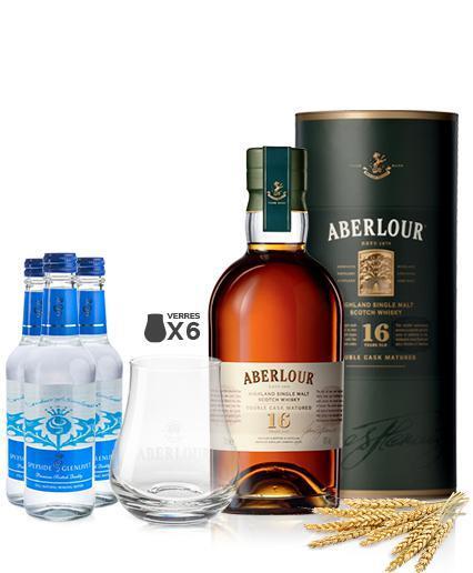 Coffret Aberlour 16 ans Single Malt Double Cask Matured : 1 bouteille de  70 cl + 6 verres + 2 bouteilles d'eau