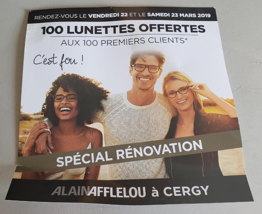1 paire de Lunettes offertes au  100 premiers clients - Cergy (95)