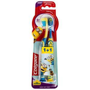Lot de 2 brosses à dents + 6 ans Colgate Minions