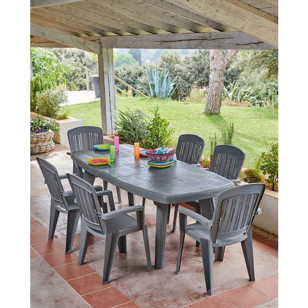 Pack Salon de jardin - 1 table extensible + 6 fauteuils ...
