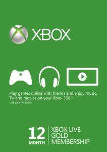 Code Abonnement Xbox Live Gold - 12 Mois (Dématérialisé)
