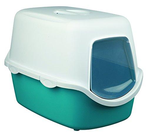 [Panier plus] Bac à litière pour chat  Vico - Turquoise/blanc