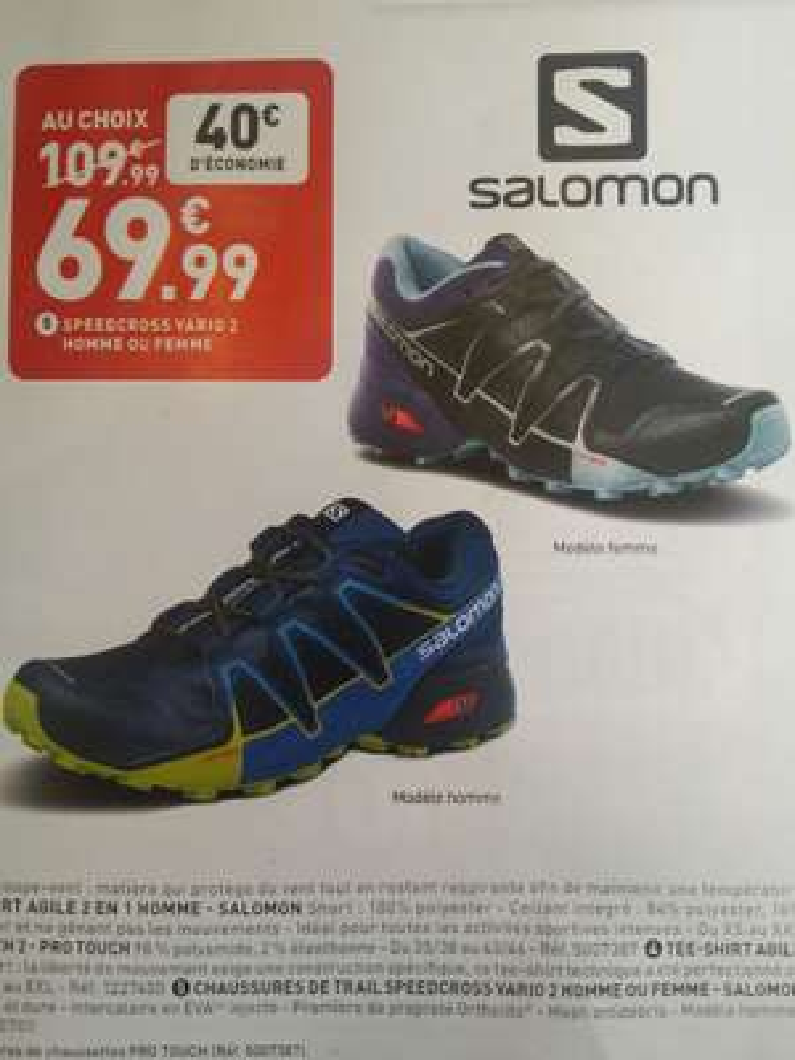 Chaussures de Trail Salomon Speedcross Vario 2 (homme ou femme) - Auray (56)
