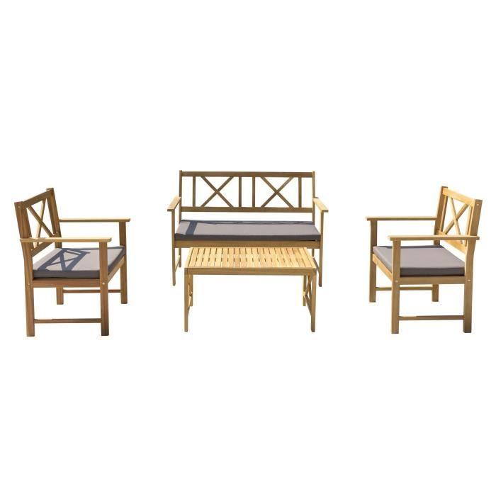 Salon de jardin 4 places: 1 table avec 2 fauteuils et 1 banquette ...
