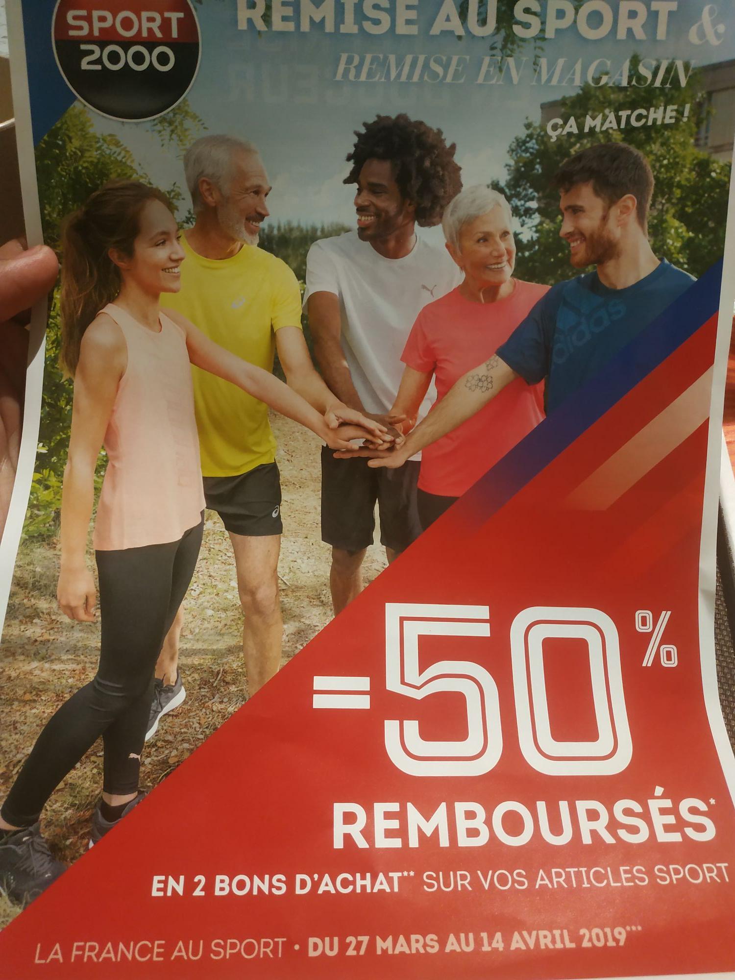50% remboursés sur les Chaussures et Textile Sportif en 2 bons d'achat valables sur 2 semaines (hors exceptions) - Mandelieu-la-Napoule (06)